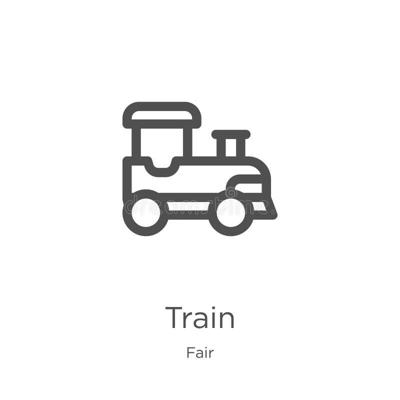de vector van het treinpictogram van eerlijke inzameling De dunne van het het overzichtspictogram van de lijntrein vectorillustra vector illustratie