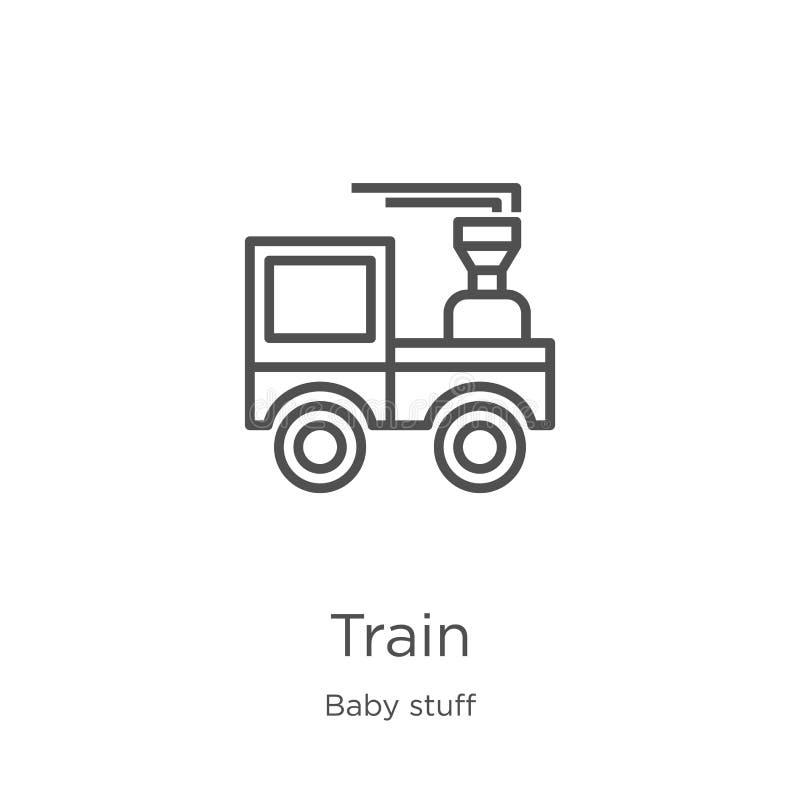 de vector van het treinpictogram van de inzameling van het babymateriaal De dunne van het het overzichtspictogram van de lijntrei stock illustratie
