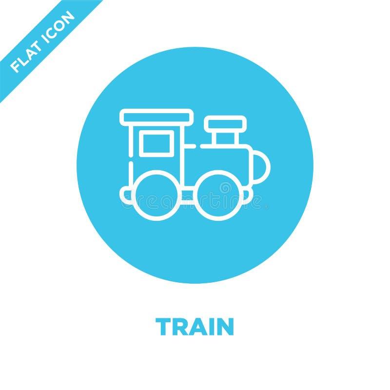 de vector van het treinpictogram van de inzameling van het babyspeelgoed De dunne van het het overzichtspictogram van de lijntrei stock illustratie