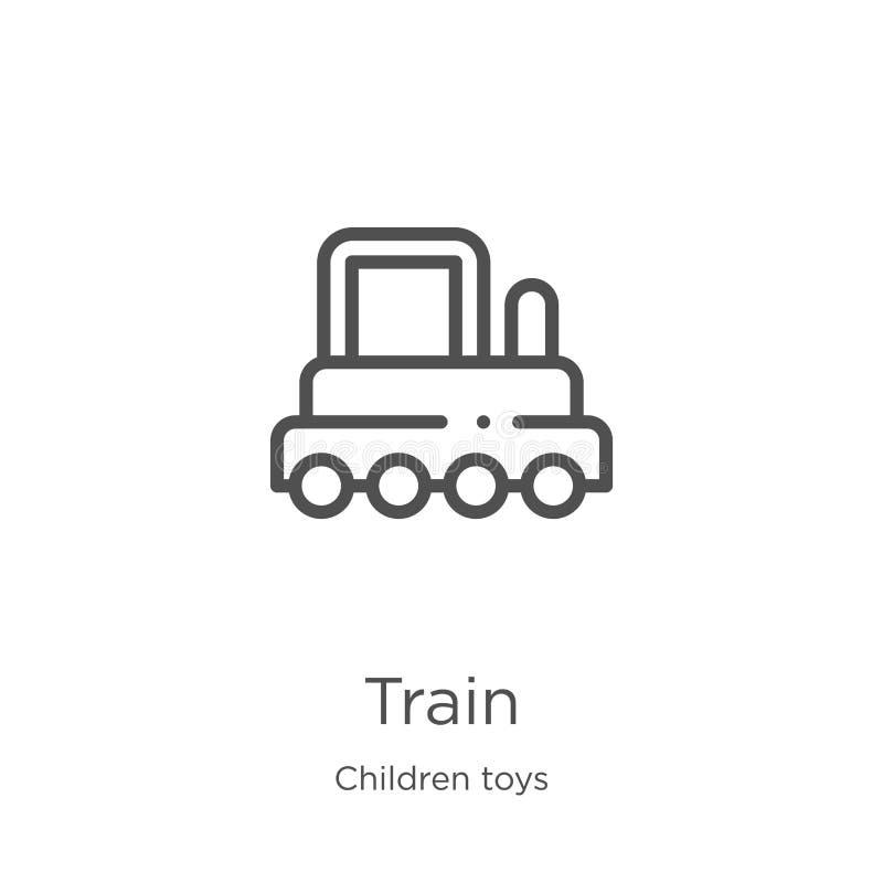 de vector van het treinpictogram van de inzameling van het kinderenspeelgoed De dunne van het het overzichtspictogram van de lijn stock illustratie