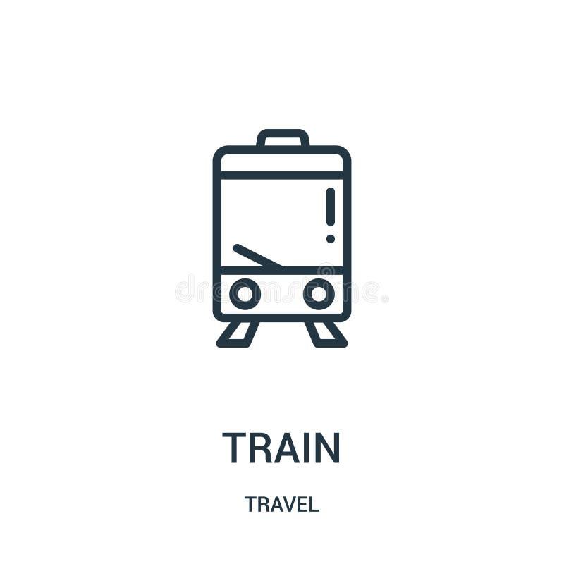 de vector van het treinpictogram van reisinzameling De dunne van het het overzichtspictogram van de lijntrein vectorillustratie L vector illustratie