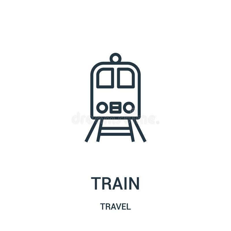 de vector van het treinpictogram van reisinzameling De dunne van het het overzichtspictogram van de lijntrein vectorillustratie L royalty-vrije illustratie