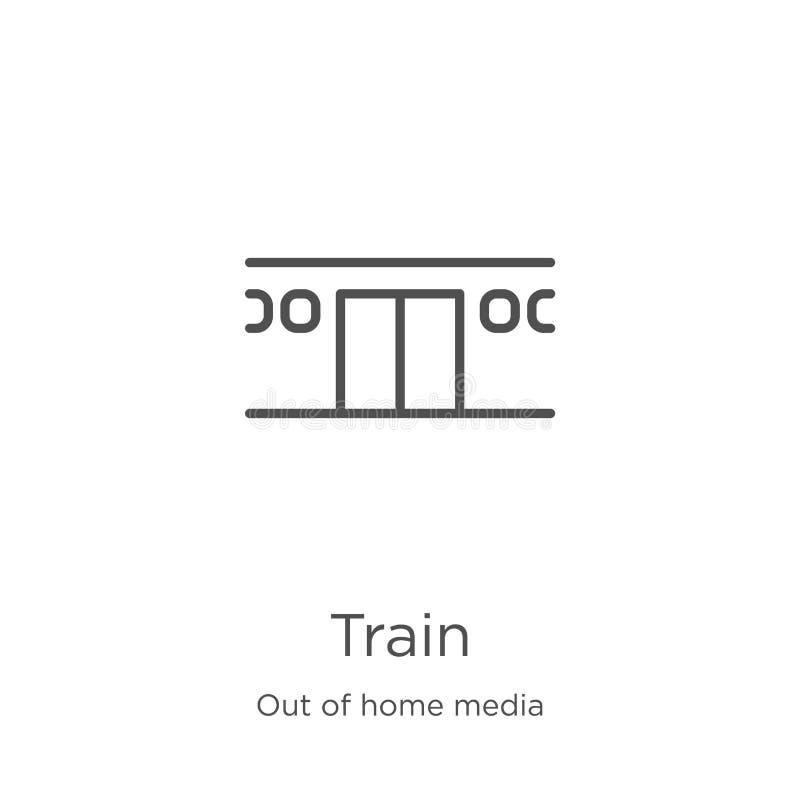 de vector van het treinpictogram van uit huismedia inzameling De dunne van het het overzichtspictogram van de lijntrein vectorill stock illustratie
