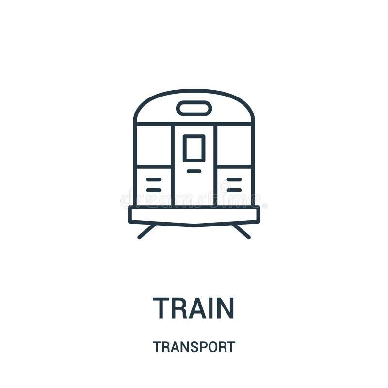 de vector van het treinpictogram van vervoerinzameling De dunne van het het overzichtspictogram van de lijntrein vectorillustrati vector illustratie