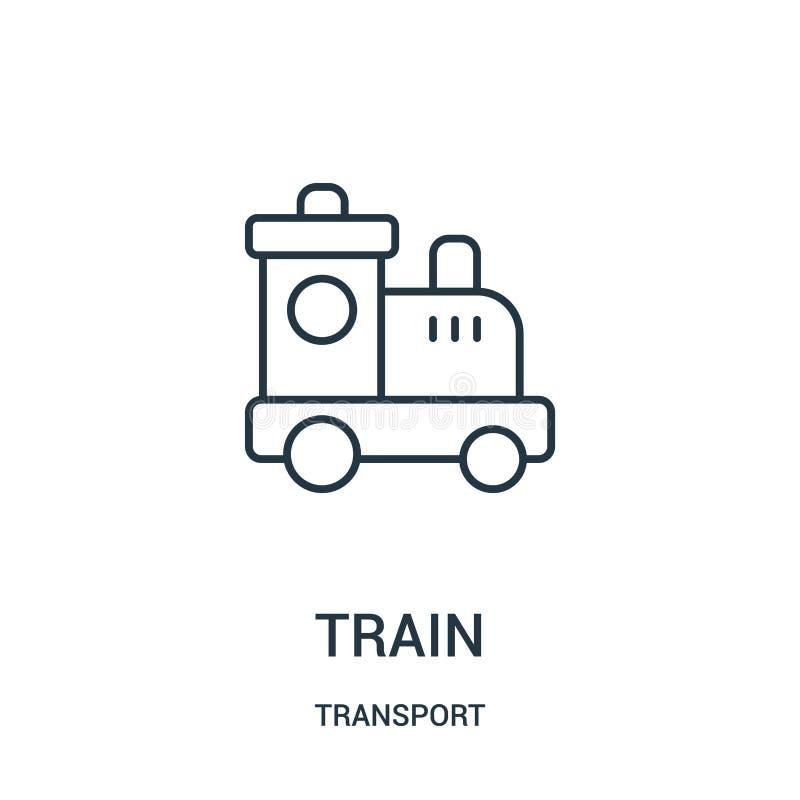 de vector van het treinpictogram van vervoerinzameling De dunne van het het overzichtspictogram van de lijntrein vectorillustrati stock illustratie