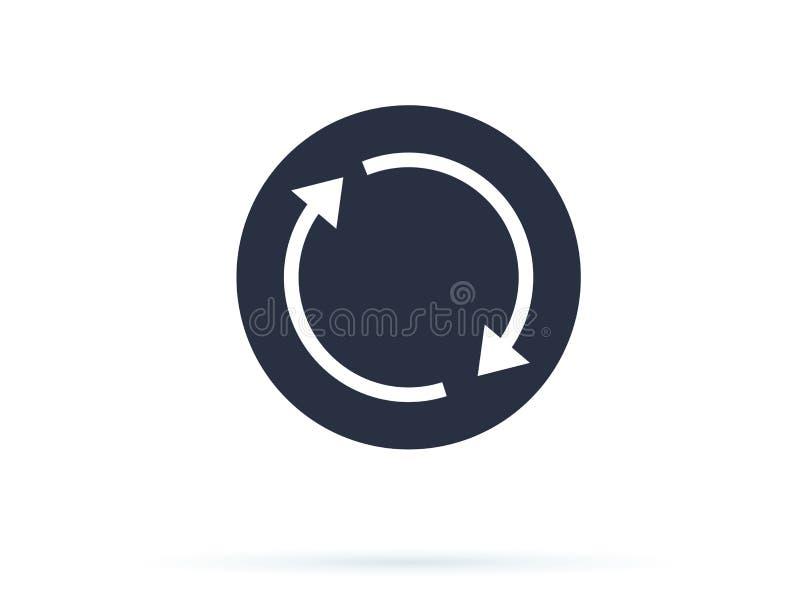 De vector van het updatepictogram Het herladensymbool, verfrist pictogram De cirkelknoop voor website, vast lichaam verfrist pict stock illustratie