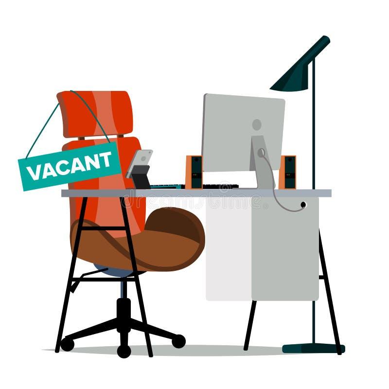 De Vector van het vacatureconcept De stoel van het bureau Vacatureteken Moderne Werkplaats voor Werknemer Lijst met bureaupunten  royalty-vrije illustratie