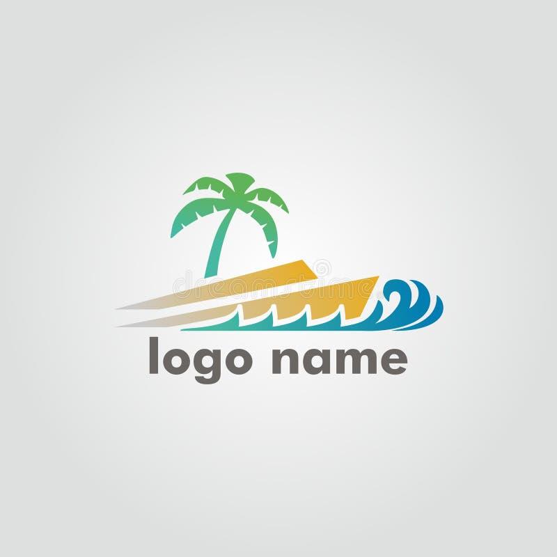 De vector van het vakantieembleem met het thema van de strandvakantie vector illustratie