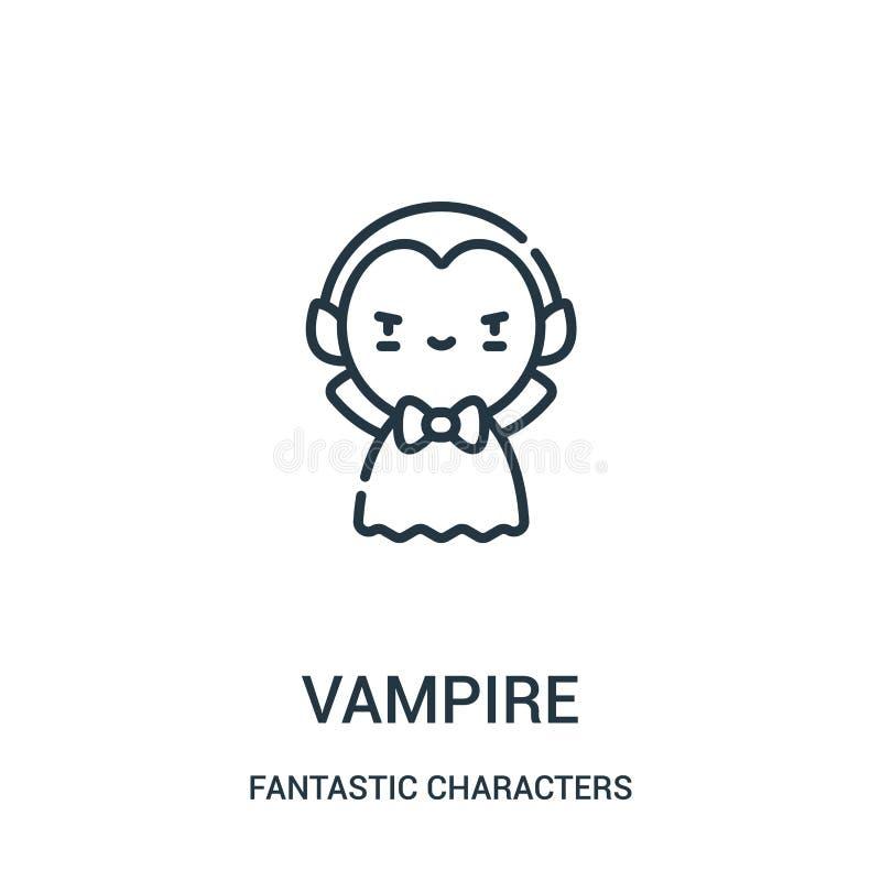 de vector van het vampierpictogram van fantastische karaktersinzameling De dunne van het het overzichtspictogram van de lijnvampi royalty-vrije illustratie