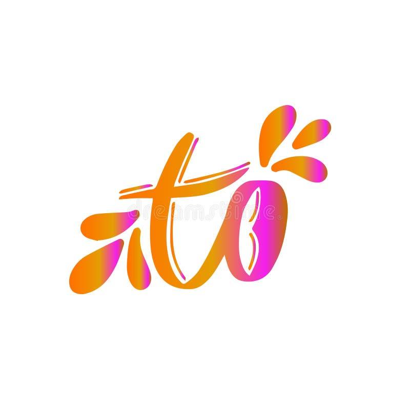 De vector van het vangstwoord Om illustratie te ondertekenen Kalligrafiekaart Hand geschreven van letters voorziend decor Met de  vector illustratie