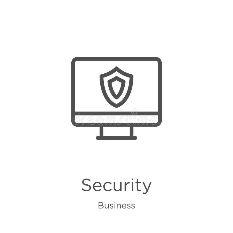 de vector van het veiligheidspictogram van bedrijfsinzameling De dunne van het het overzichtspictogram van de lijnveiligheid vect stock illustratie