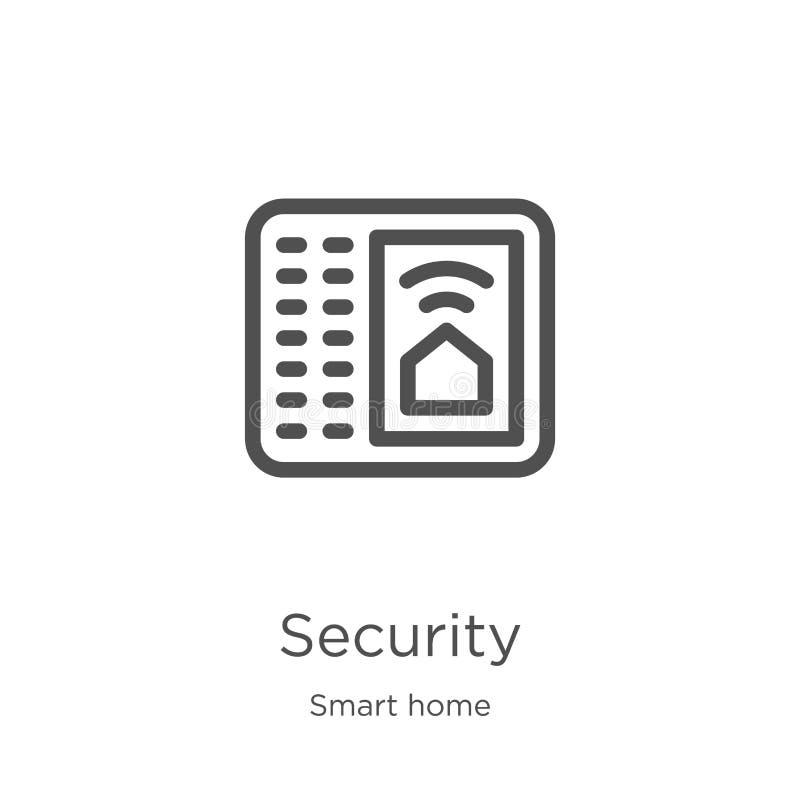de vector van het veiligheidspictogram van slimme huisinzameling De dunne van het het overzichtspictogram van de lijnveiligheid v stock illustratie