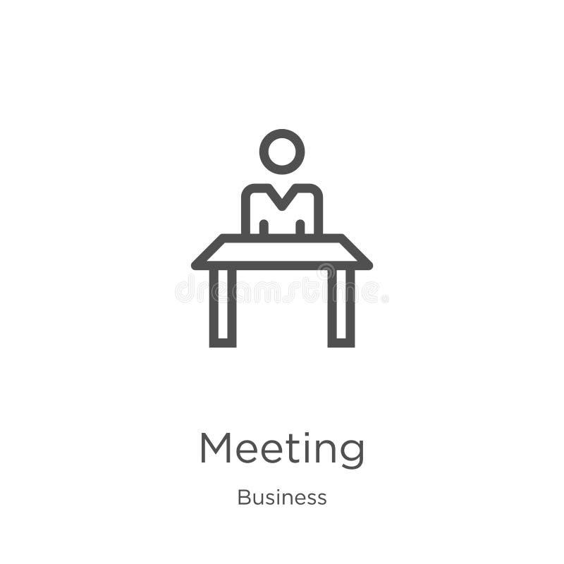 de vector van het vergaderingspictogram van bedrijfsinzameling De dunne van het het overzichtspictogram van de lijnvergadering ve stock illustratie
