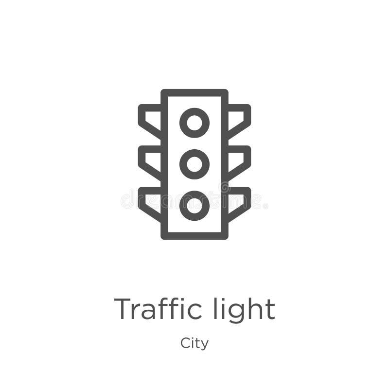 de vector van het verkeerslichtpictogram van stadsinzameling De dunne van het het overzichtspictogram van het lijnverkeerslicht v stock illustratie