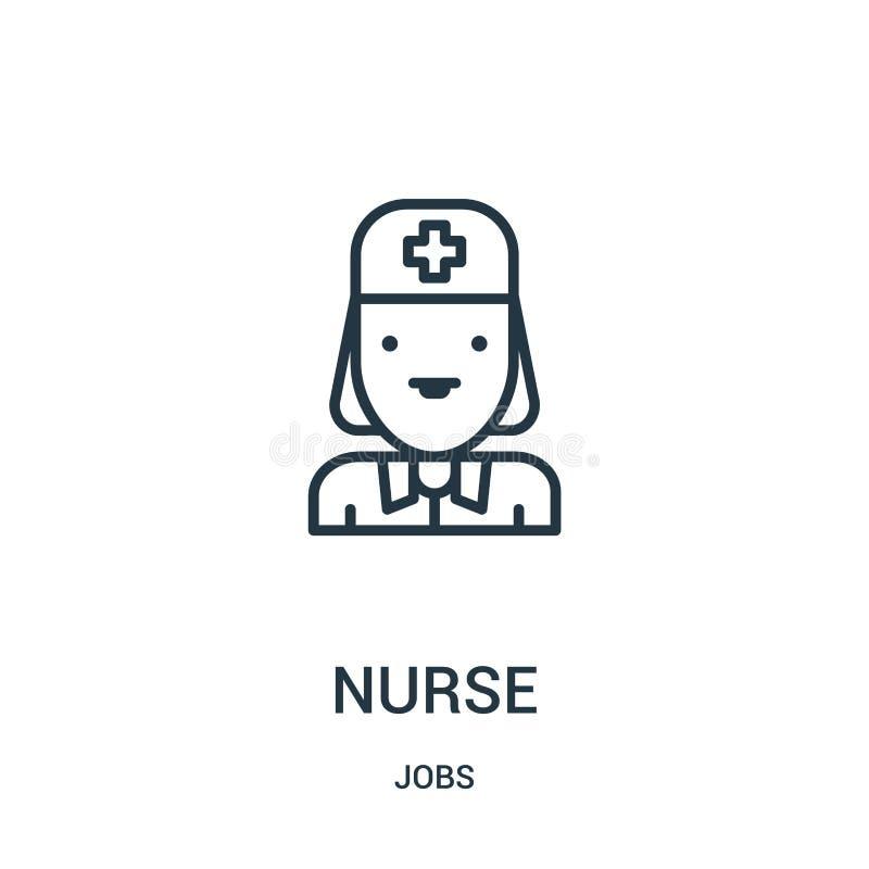 de vector van het verpleegsterspictogram van baneninzameling De dunne van het het overzichtspictogram van de lijnverpleegster vec stock illustratie