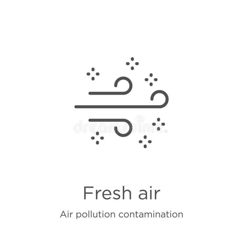 de vector van het verse luchtpictogram van de inzameling van de luchtvervuilingsverontreiniging De dunne van het het overzichtspi vector illustratie