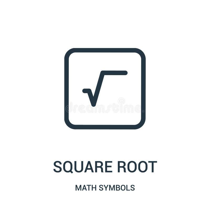 de vector van het vierkantswortelpictogram van de inzameling van wiskundesymbolen De dunne van het het overzichtspictogram van de royalty-vrije illustratie