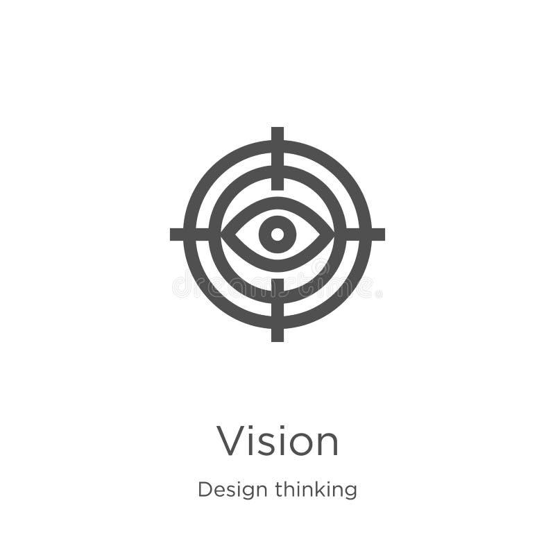 de vector van het visiepictogram van ontwerp het denken inzameling De dunne van het het overzichtspictogram van de lijnvisie vect royalty-vrije illustratie