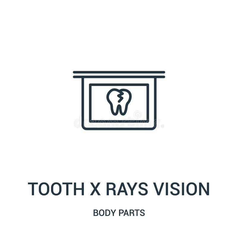 de vector van het de visiepictogram van tandröntgenstralen van lichaamsdeleninzameling De dunne van de de röntgenstralenvisie van royalty-vrije illustratie