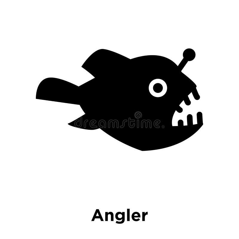 De vector van het visserspictogram op witte achtergrond, embleemconcept wordt geïsoleerd dat van stock illustratie