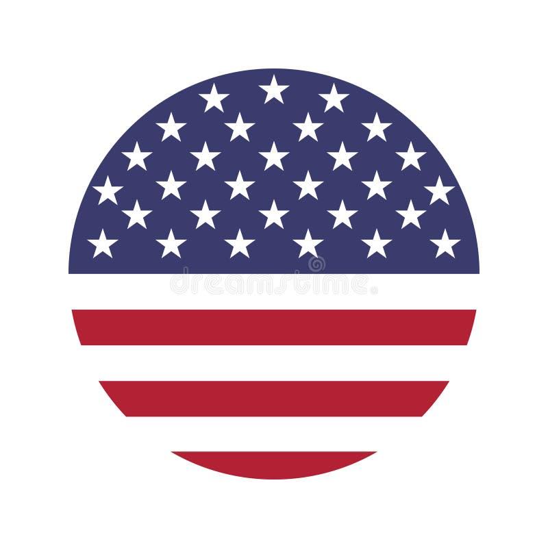 De vector van het de vlagpictogram van de V.S. isoleert drukillustratie royalty-vrije illustratie