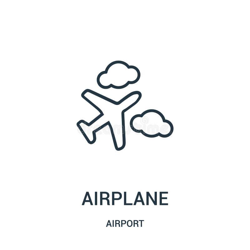 de vector van het vliegtuigpictogram van luchthaveninzameling De dunne van het het overzichtspictogram van het lijnvliegtuig vect stock illustratie