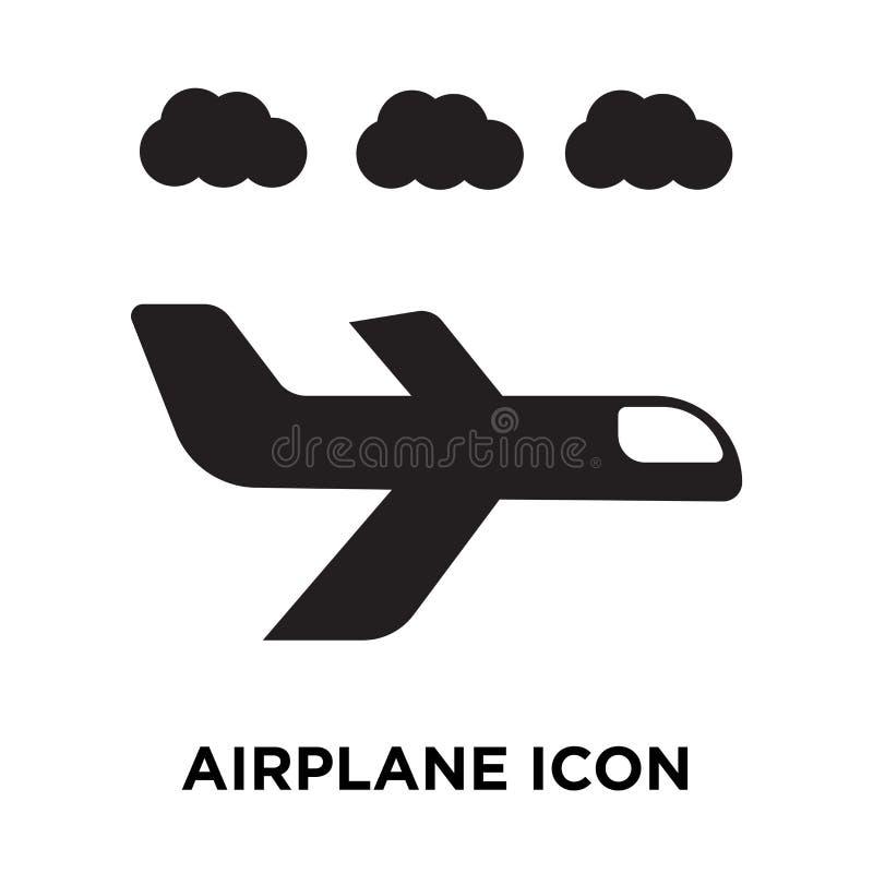 De vector van het vliegtuigpictogram op witte achtergrond, embleemconcept wordt geïsoleerd dat stock illustratie