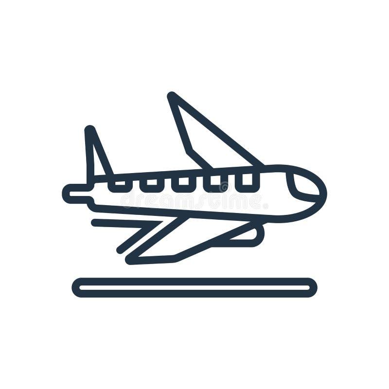 De vector van het vliegtuigpictogram op witte achtergrond, Vliegtuigteken wordt geïsoleerd dat royalty-vrije illustratie