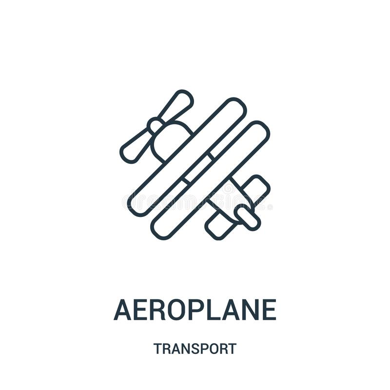 de vector van het vliegtuigpictogram van vervoerinzameling De dunne van het het overzichtspictogram van het lijnvliegtuig vectori royalty-vrije illustratie