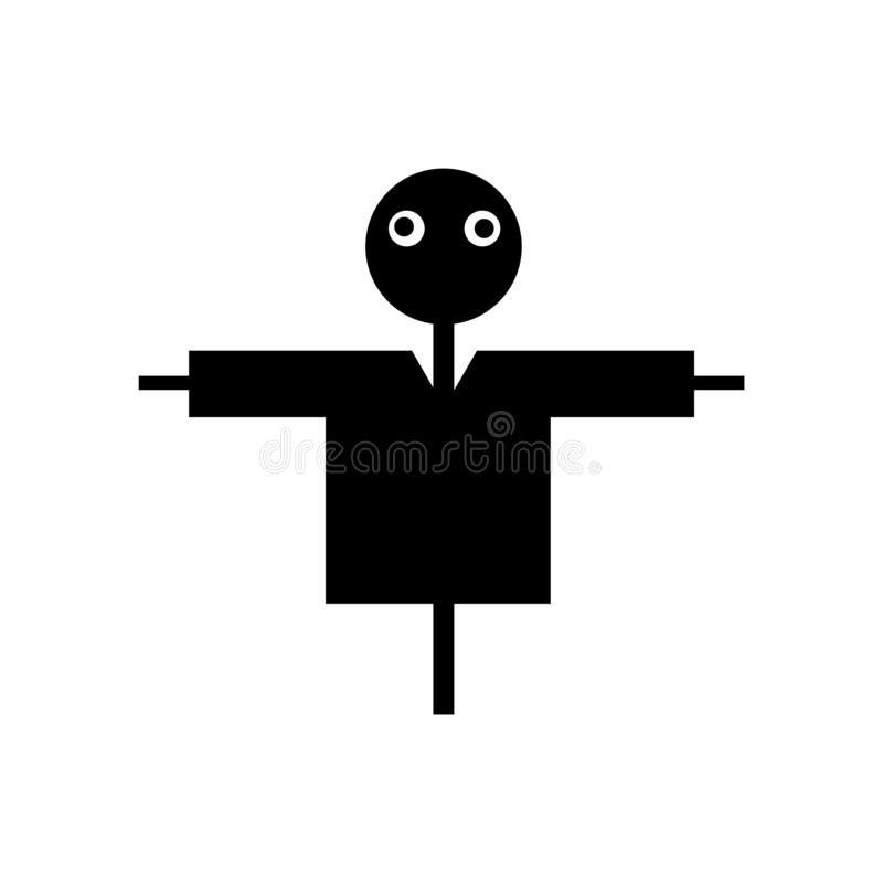 De vector van het vogelverschrikkerpictogram op witte achtergrond, Vogelverschrikkerteken, zwarte symbolen wordt geïsoleerd dat royalty-vrije illustratie