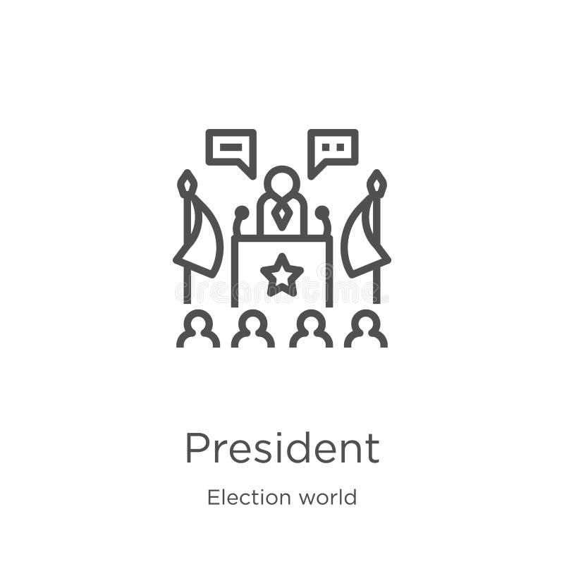 de vector van het voorzitterspictogram van de inzameling van de verkiezingswereld De dunne van het het overzichtspictogram van de royalty-vrije illustratie