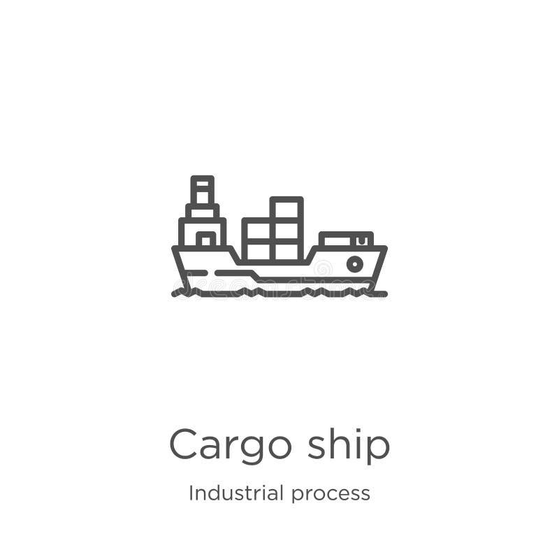 de vector van het vrachtschippictogram van industrieel procesinzameling De dunne van het het overzichtspictogram van het lijnvrac stock illustratie