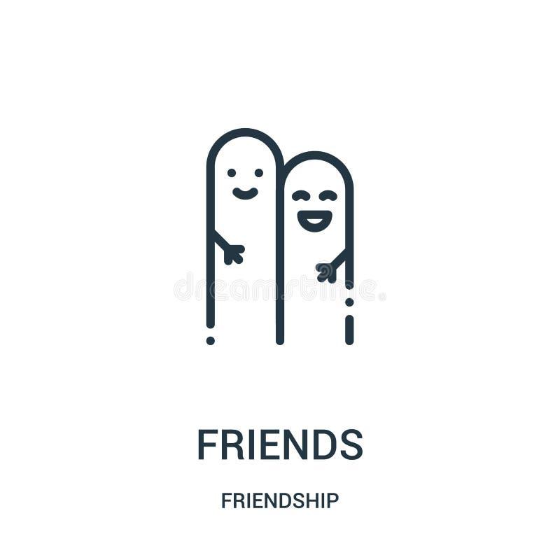 de vector van het vriendenpictogram van vriendschapsinzameling De dunne van het het overzichtspictogram van lijnvrienden vectoril stock illustratie