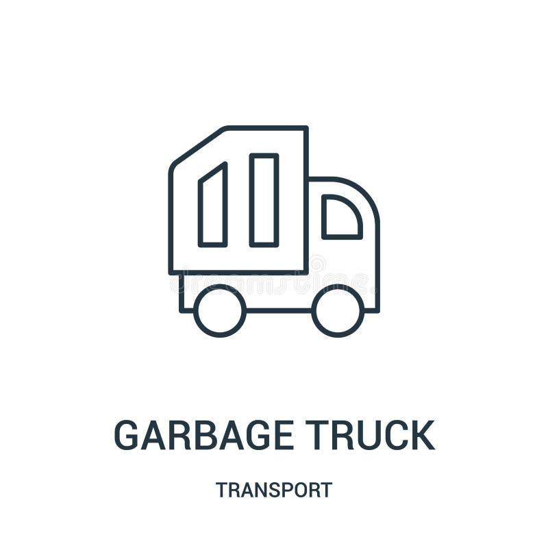 de vector van het vuilnisautopictogram van vervoerinzameling De dunne van het het overzichtspictogram van de lijnvuilnisauto vect vector illustratie
