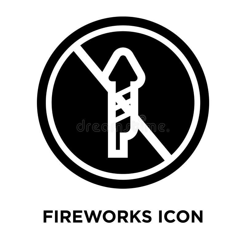 De vector van het vuurwerkpictogram op witte achtergrond, embleemconcept wordt geïsoleerd dat royalty-vrije illustratie