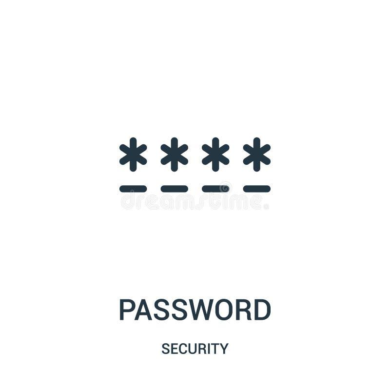 de vector van het wachtwoordpictogram van veiligheidsinzameling De dunne van het het overzichtspictogram van het lijnwachtwoord v vector illustratie