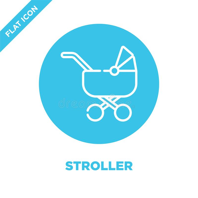 de vector van het wandelwagenpictogram van de inzameling van het babyspeelgoed De dunne van het het overzichtspictogram van de li vector illustratie