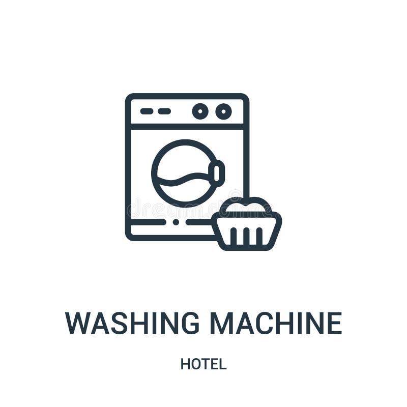 de vector van het wasmachinepictogram van hotelinzameling De dunne van het het overzichtspictogram van de lijnwasmachine vectoril vector illustratie