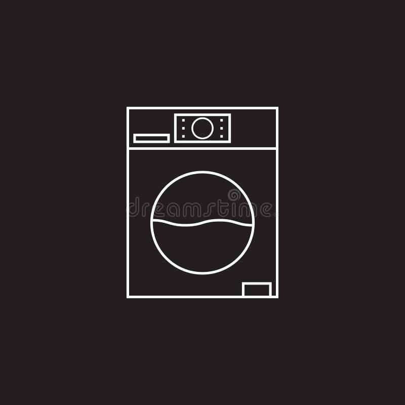 De vector van het wasmachinepictogram, illustratie van het wasserij de stevige embleem, pi stock illustratie