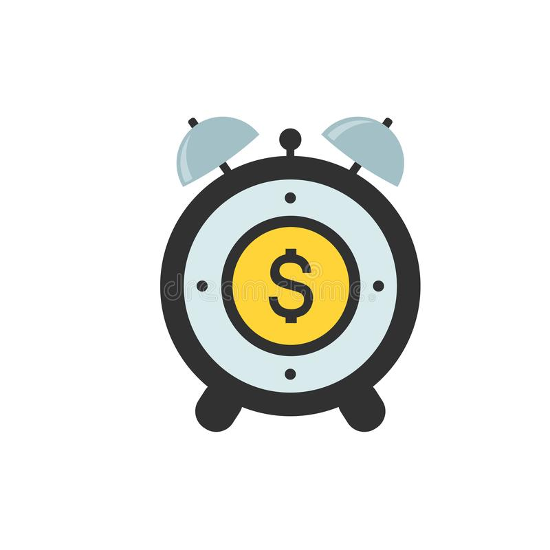 De vector van het wekkerpictogram met vlakke het tekensymbolen van het Dollargeld activeringstijd en werkuren Vectordieillustrati vector illustratie
