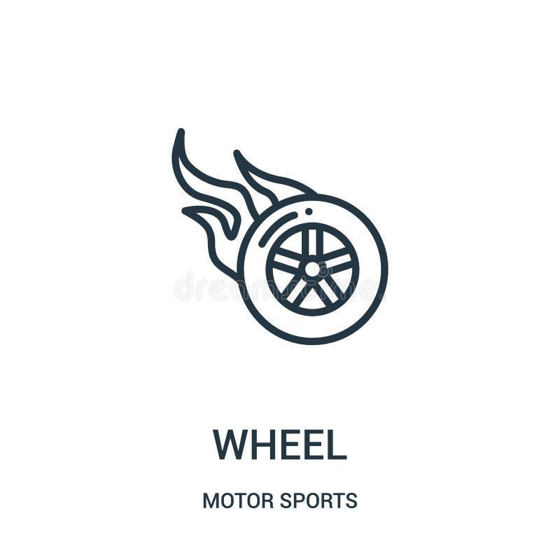 de vector van het wielpictogram van de inzameling van motorsporten De dunne van het het overzichtspictogram van het lijnwiel vect royalty-vrije illustratie
