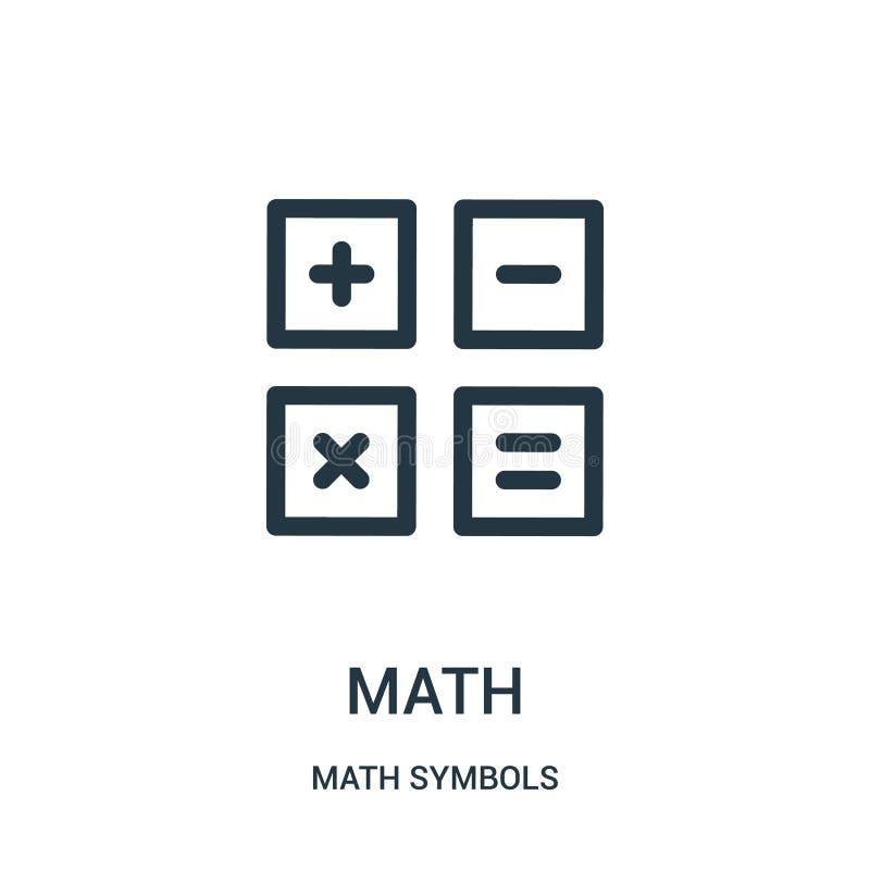 de vector van het wiskundepictogram van de inzameling van wiskundesymbolen De dunne van het het overzichtspictogram van de lijnwi stock illustratie