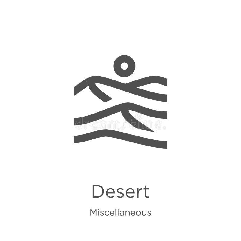 de vector van het woestijnpictogram van diverse inzameling De dunne van het het overzichtspictogram van de lijnwoestijn vectorill vector illustratie