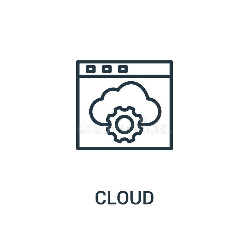 de vector van het wolkenpictogram van seoinzameling De dunne van het het overzichtspictogram van de lijnwolk vectorillustratie Li stock illustratie