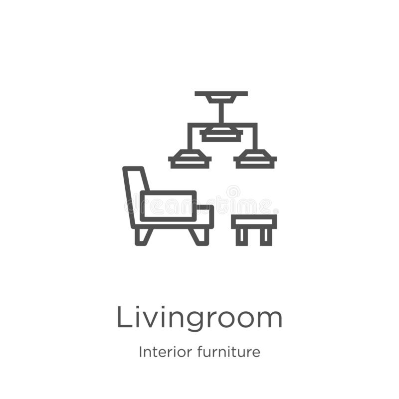 de vector van het woonkamerpictogram van binnenlandse meubilairinzameling De dunne van het het overzichtspictogram van de lijnwoo vector illustratie