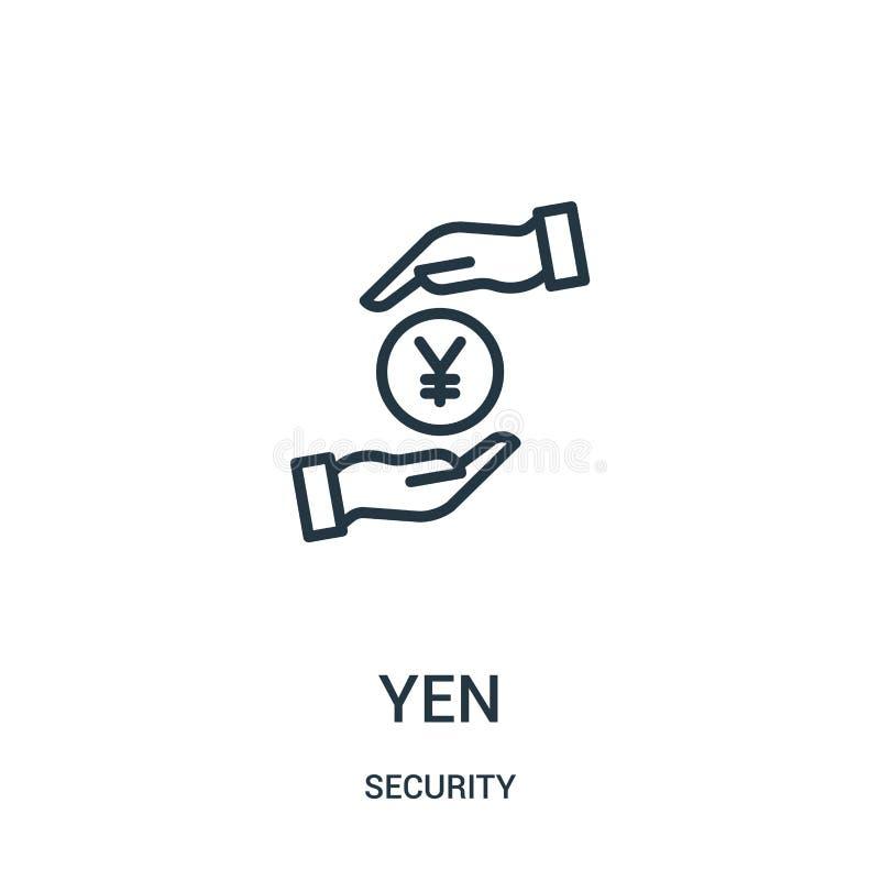de vector van het Yenpictogram van veiligheidsinzameling De dunne van het het overzichtspictogram van de lijnyen vectorillustrati stock illustratie
