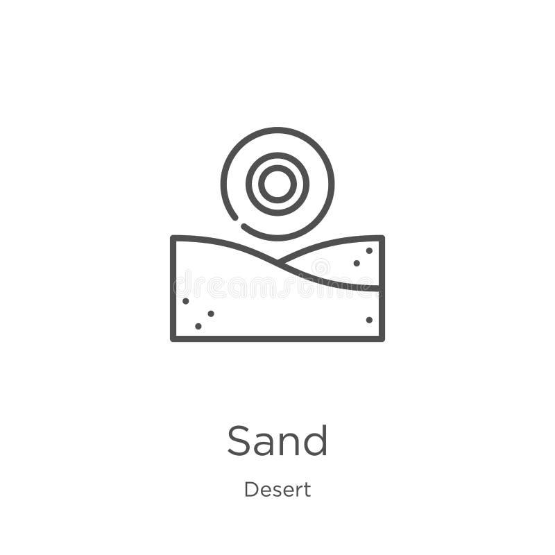 de vector van het zandpictogram van woestijninzameling De dunne van het het overzichtspictogram van het lijnzand vectorillustrati vector illustratie