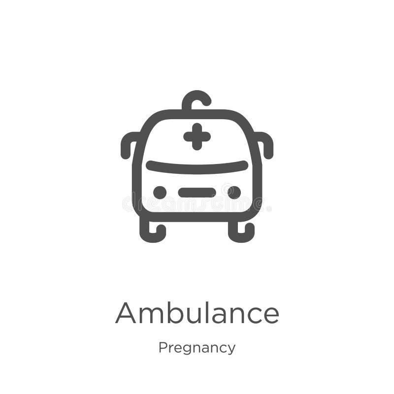 de vector van het ziekenwagenpictogram van zwangerschapsinzameling De dunne van het het overzichtspictogram van de lijnziekenwage vector illustratie