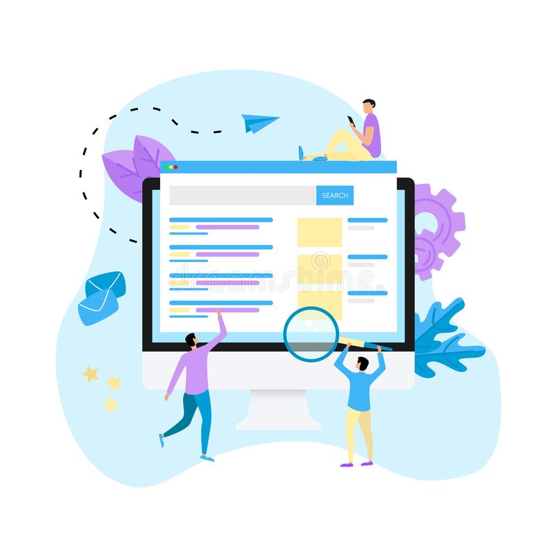 De vector van het zoekmachineresultaat pag, Pagina die zoekresultaten van een vraag, het concept van het Webonderzoek op Desktop  royalty-vrije illustratie