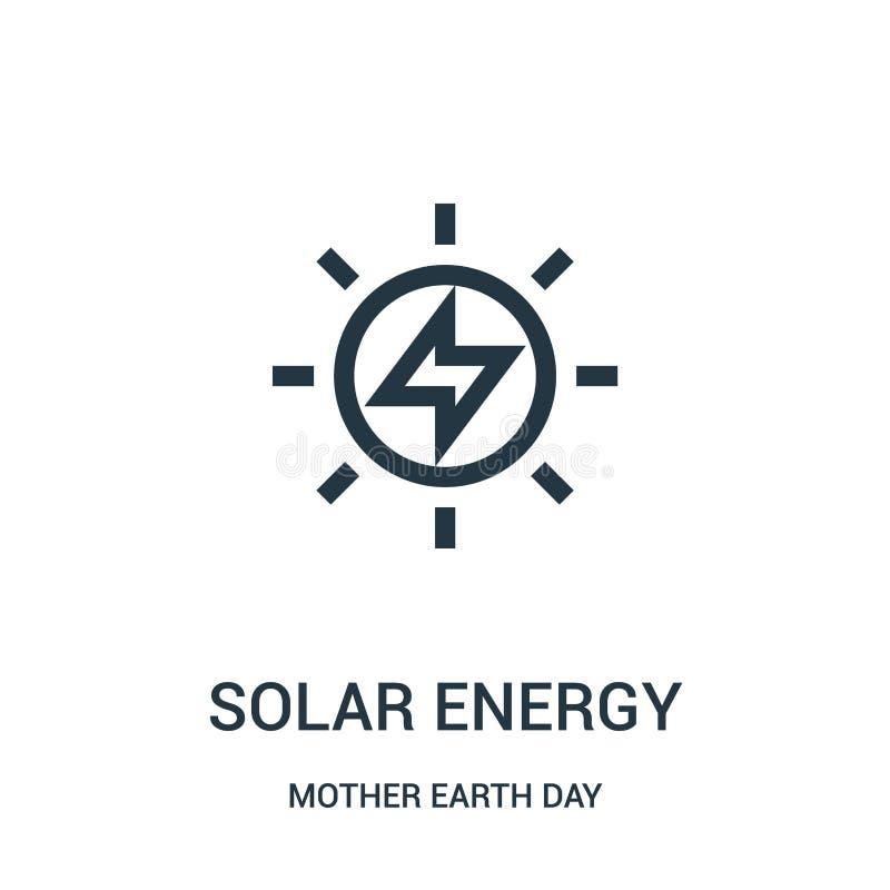 de vector van het zonne-energiepictogram van de daginzameling van de moederaarde De dunne van het het overzichtspictogram van de  royalty-vrije illustratie